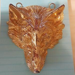 Goldtone Wolf Head Pendant, Vintage